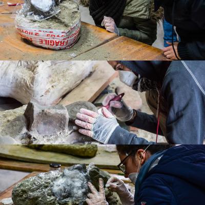 """Gli studenti mettono in pratica le tecniche di restauro apprese a lezione sotto la supervisione del team di lavoro del Progetto """"Brunella""""."""